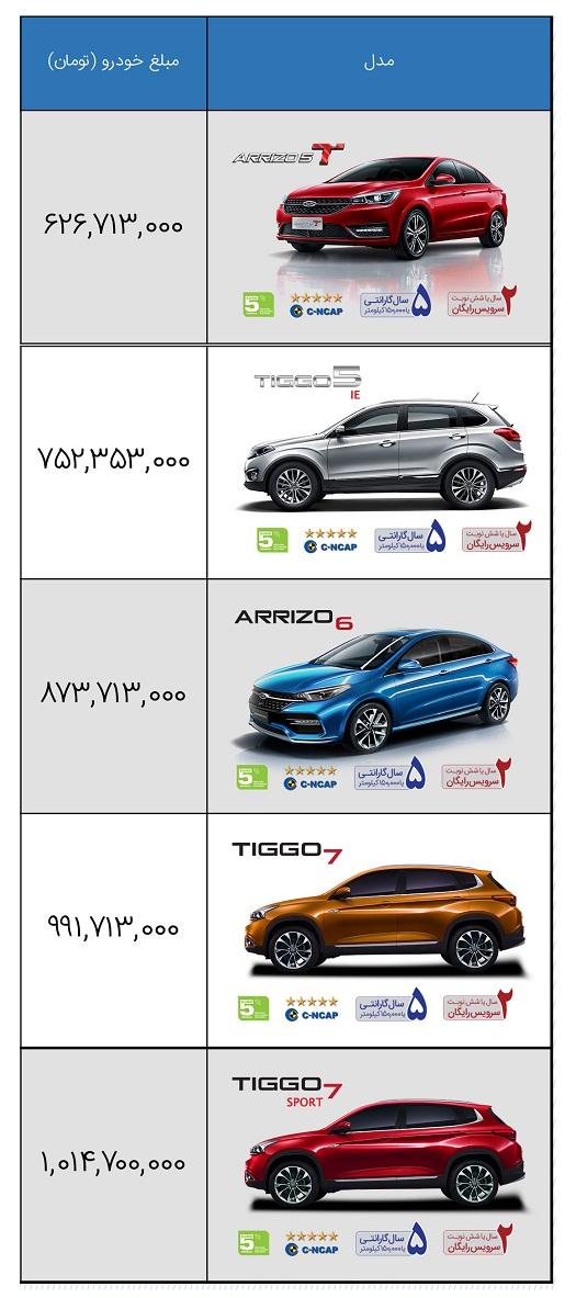 لیست قیمت خودروهای چری در مهر 1400