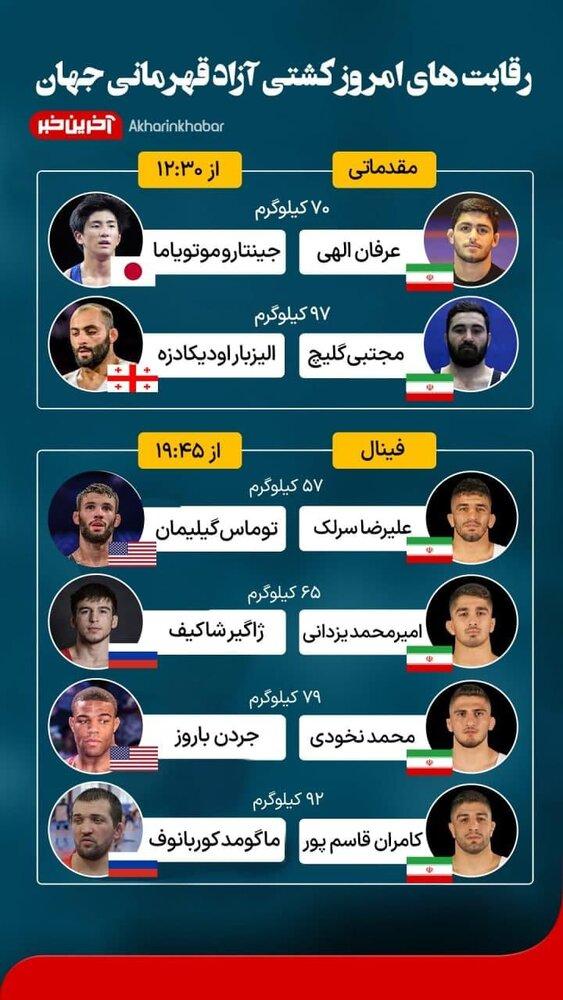 ساعت فینال های امروز کشتی ایران در مسابقات جهانی نروژ مشخص شد