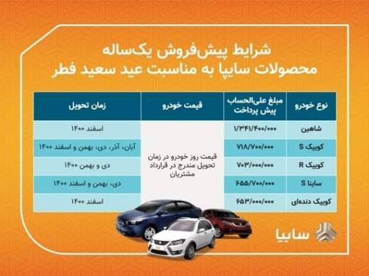 پیش فروش خودرو سایپا ویژه عید فطر اردیبهشت 1400