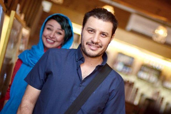 عکس عاشقانه جواد عزتی و همسرس مه لقا باقری وسط دریا